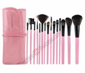 15 PCS Professional Makeup Brush Set + PinkLeather Case Make Up Brush - Pink